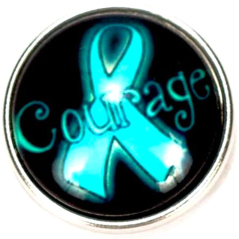 Ovarian Cancer Ribbon Courage Snap - Gracie Roze Yourself Expression Snap Jewelry