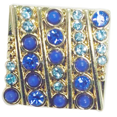 Square Gold with Blue Crystals Snap