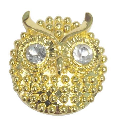 Bright Gold Owl with White Crystal Eyes Popper