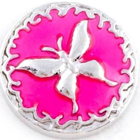 Pink Metal Butterfly Snap