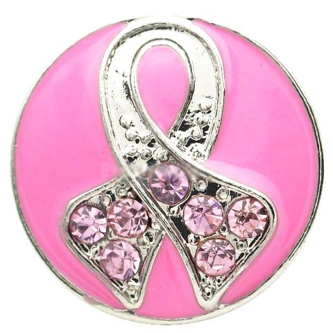 Bright Pink Breast Cancer Snap - Gracie Roze Yourself Expression Snap Jewelry