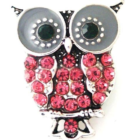 Pink Crystal Owl Snap - Gracie Roze Yourself Expression Snap Jewelry