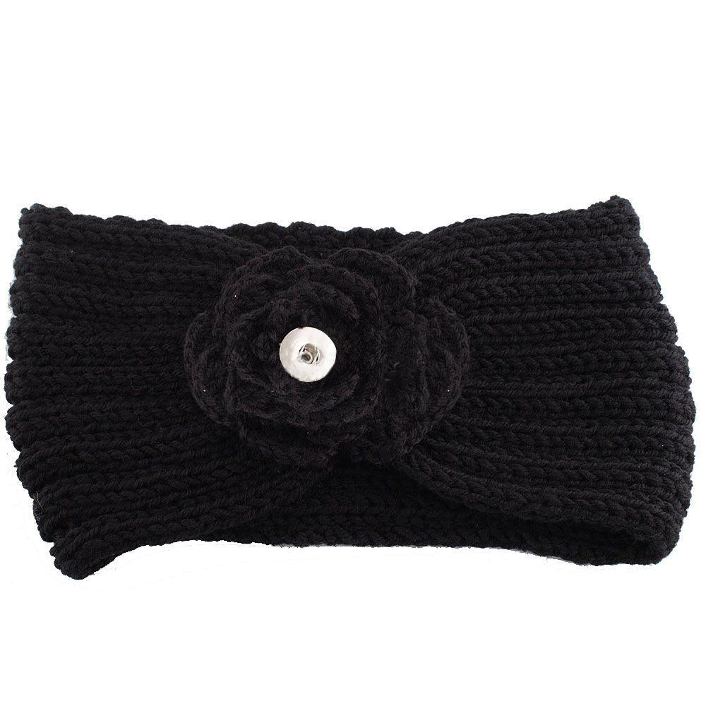 Black Knit Snap Headband - Gracie Roze