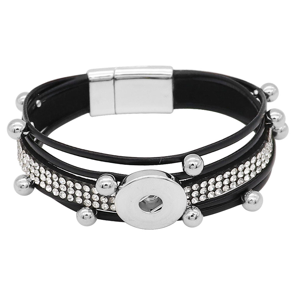 Black Magnet Leather Bling Bracelet - Gracie Roze