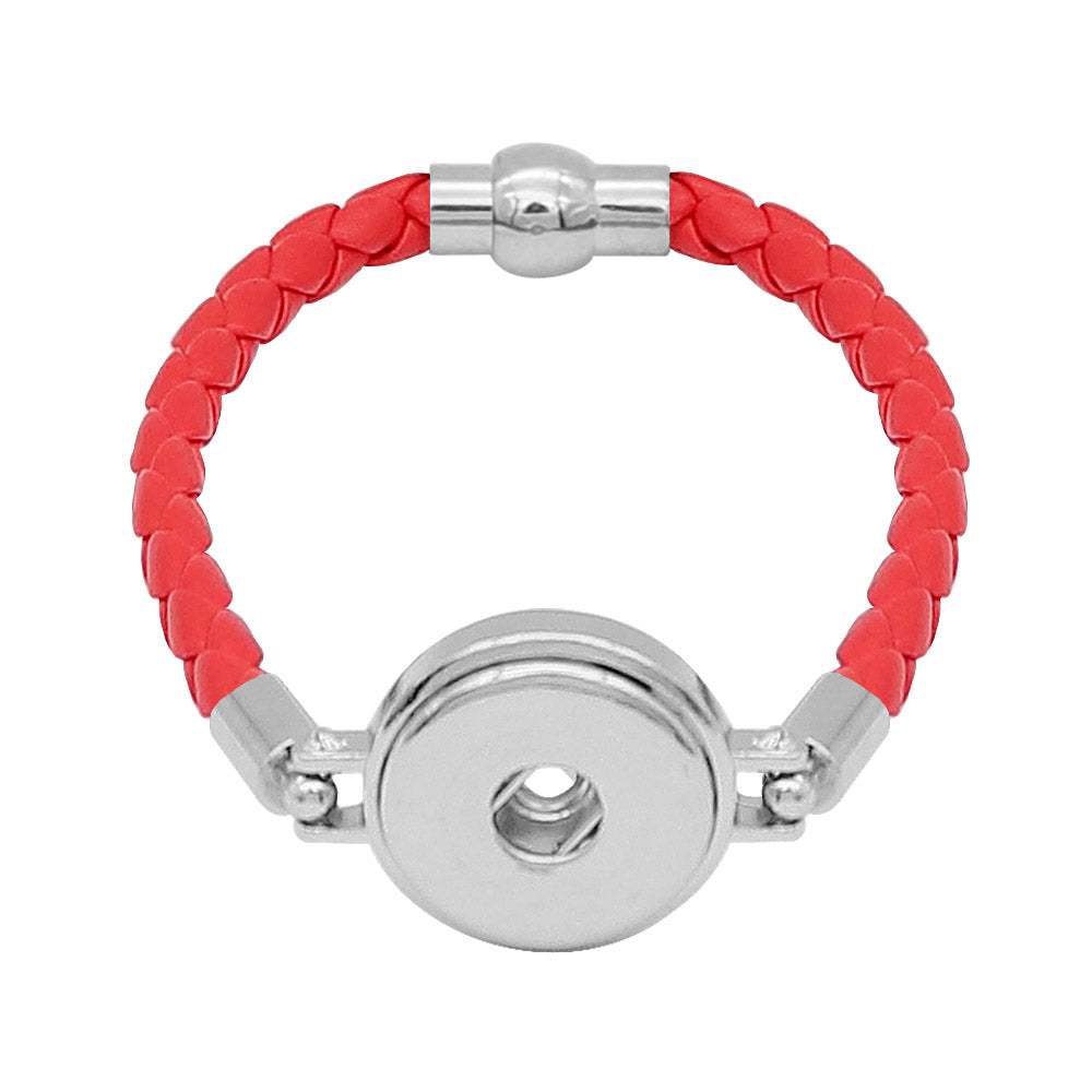 Red Leather Braided Bracelet - Gracie Roze
