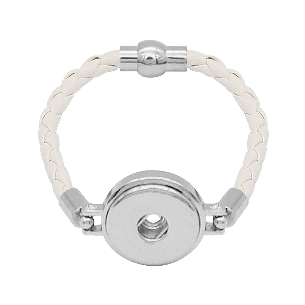 White Leather Braided Bracelet - Gracie Roze