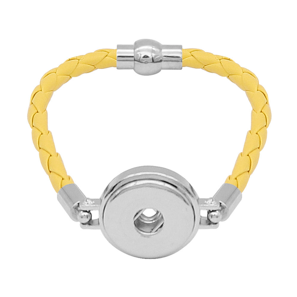 Yellow Leather Braided Bracelet - Gracie Roze