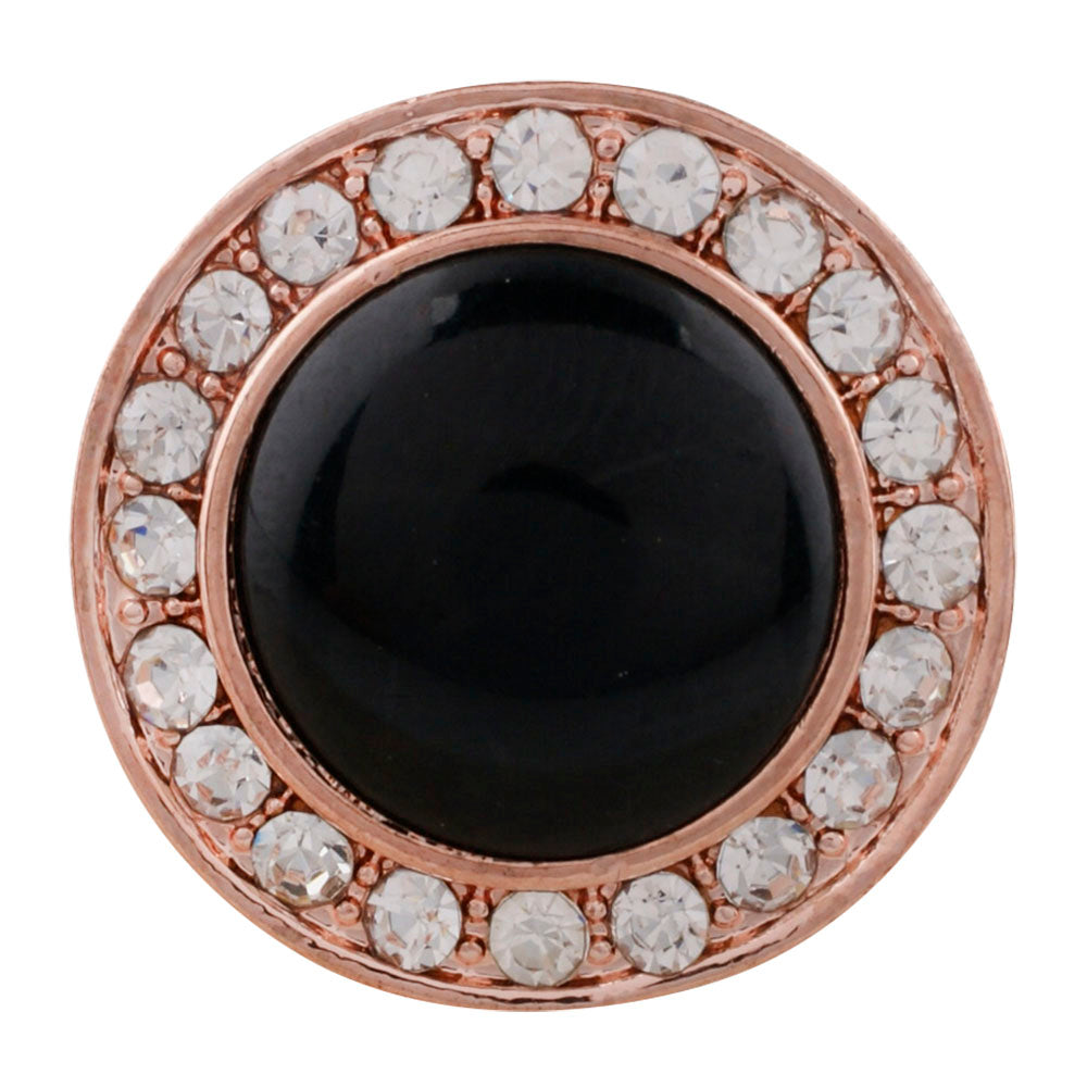 Rose Gold Black Crystal Snap - Gracie Roze Yourself Expression Snap Jewelry