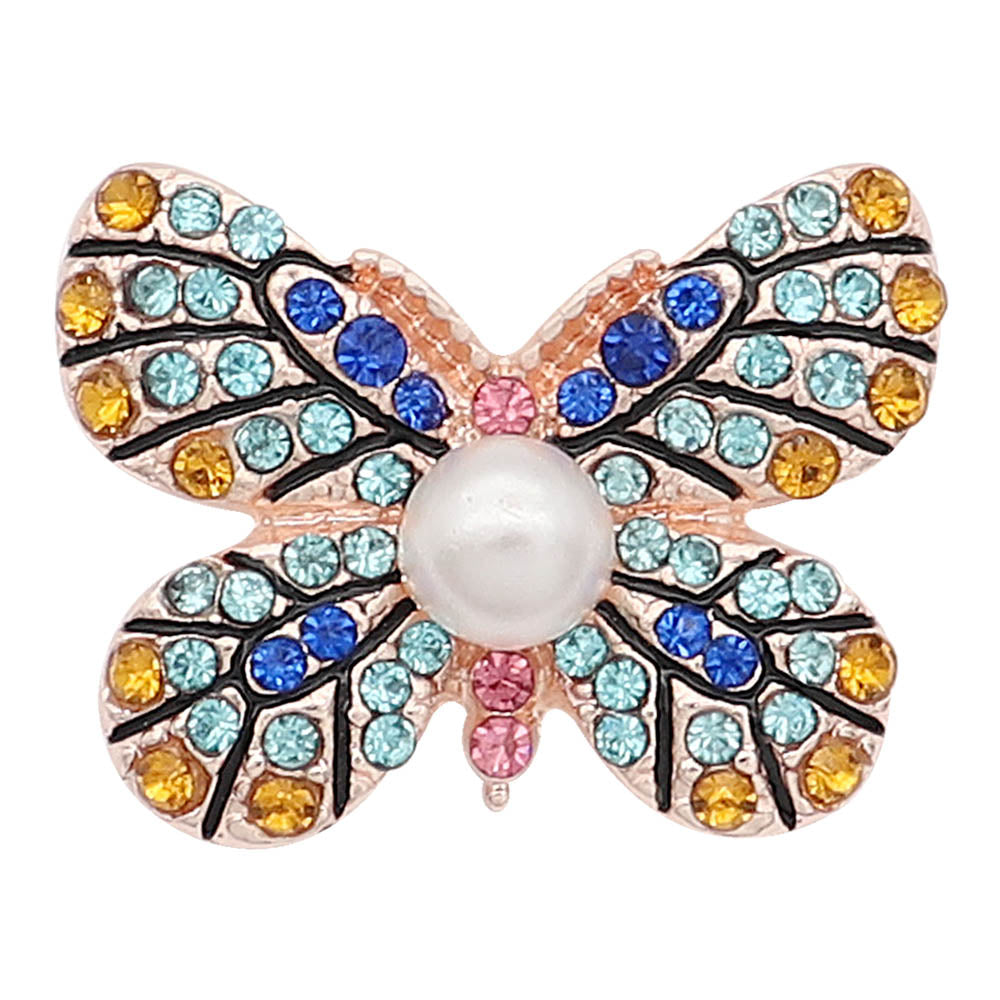Blue and Yellow Butterfly Rose Gold Snap - Gracie Roze