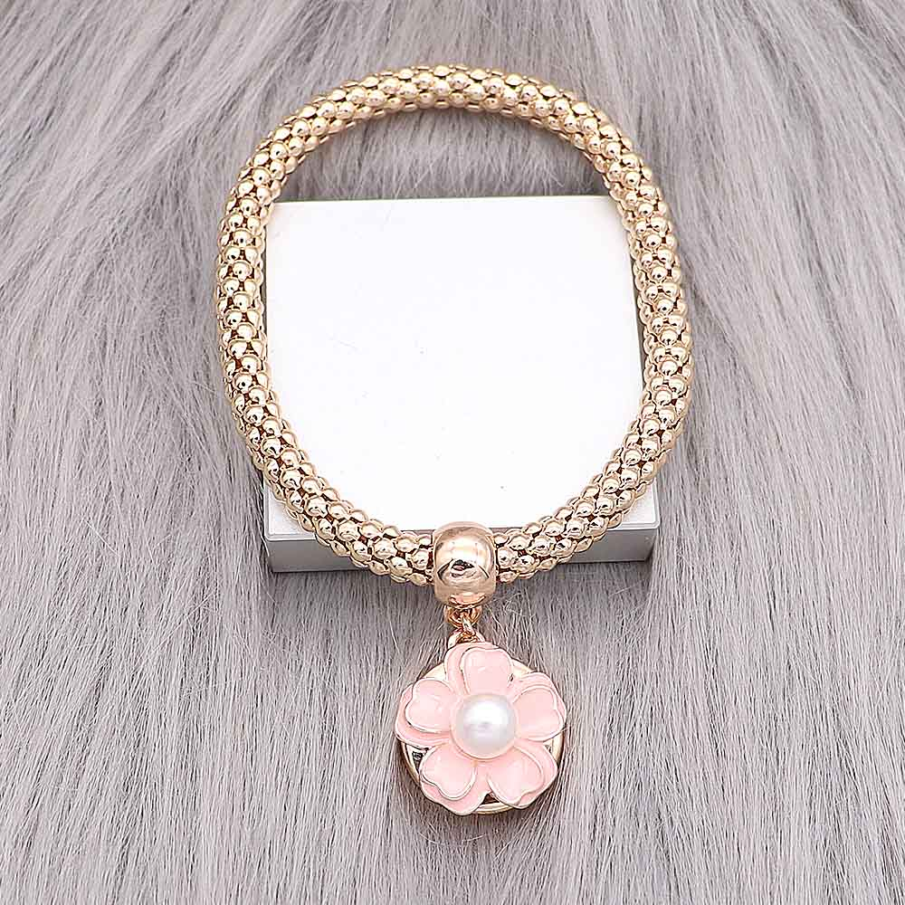 Gold Peach Pearl Flower Snap - Gracie Roze
