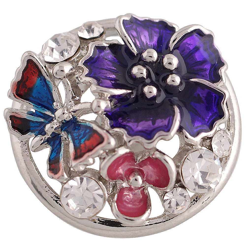Butterfly Hibiscus Purple Snap - Gracie Roze Yourself Expression Snap Jewelry