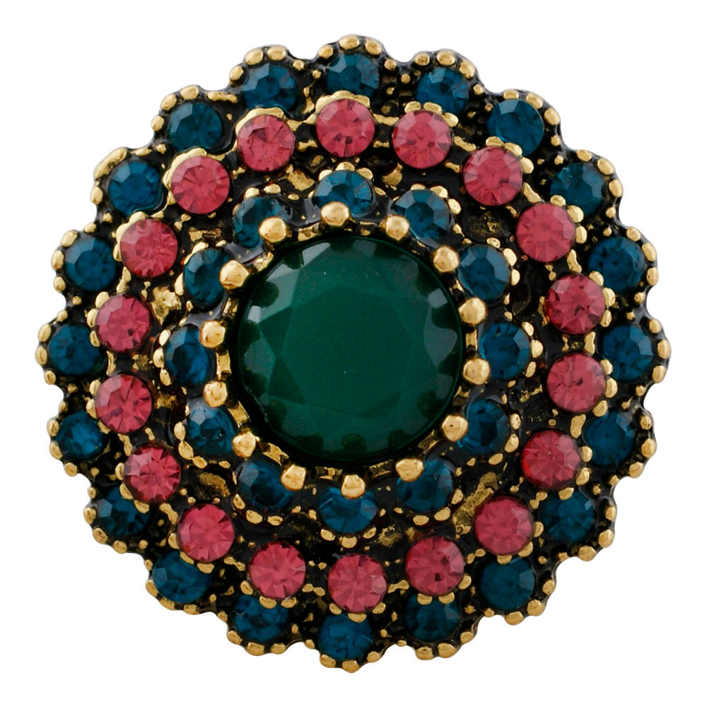 Cluster Teal and Pink Snap - Gracie Roze Yourself Expression Snap Jewelry