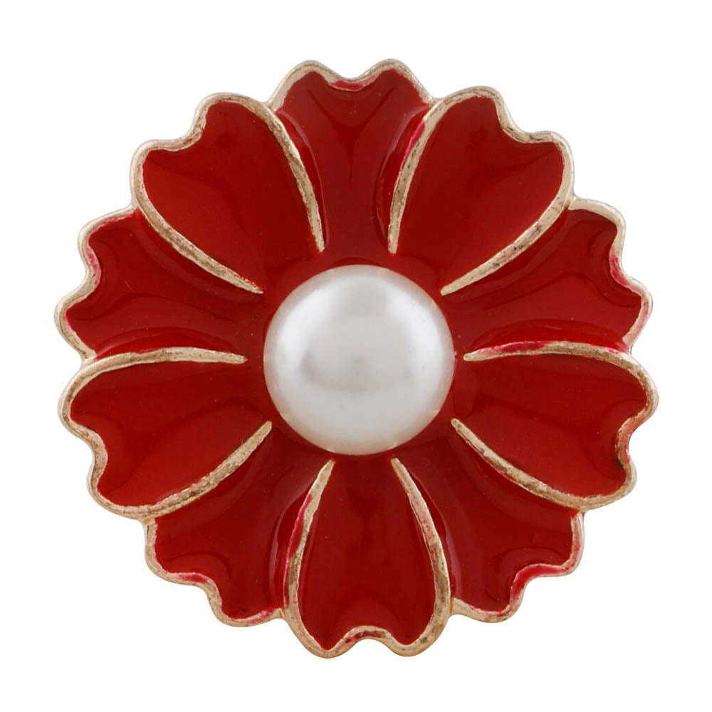Pearl Red Flower Snap - Gracie Roze Yourself Expression Snap Jewelry