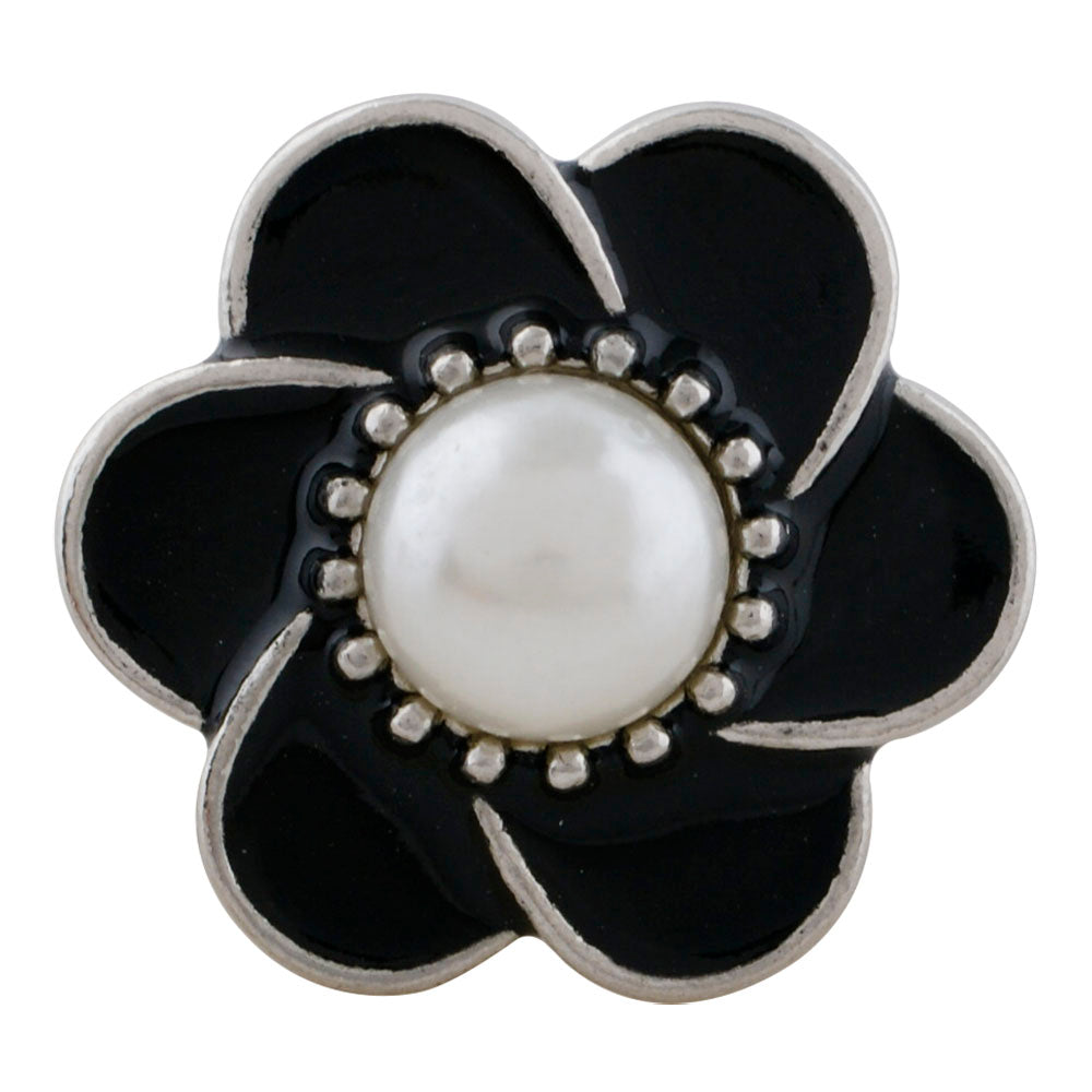 Pearl Black Flower Snap - Gracie Roze Yourself Expression Snap Jewelry