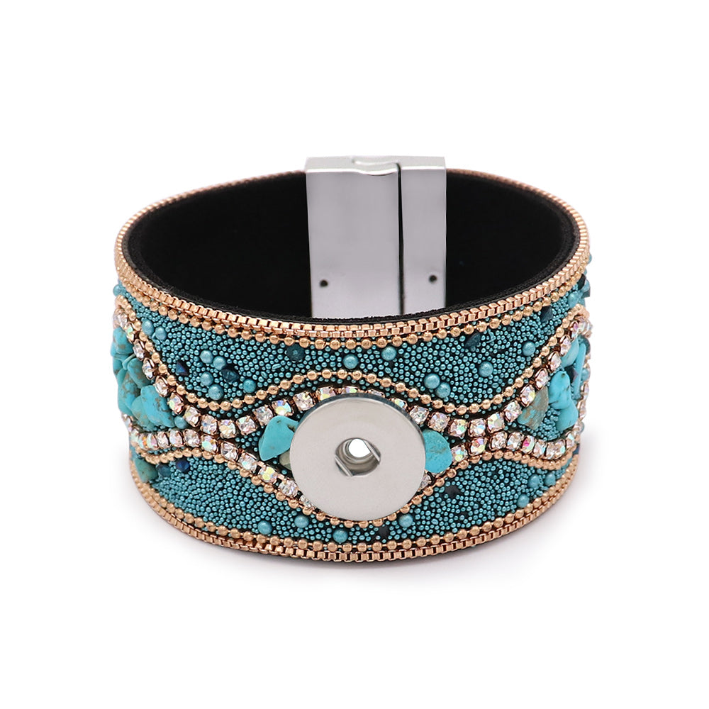 Teal Beaded Magnet Cuff - Gracie Roze