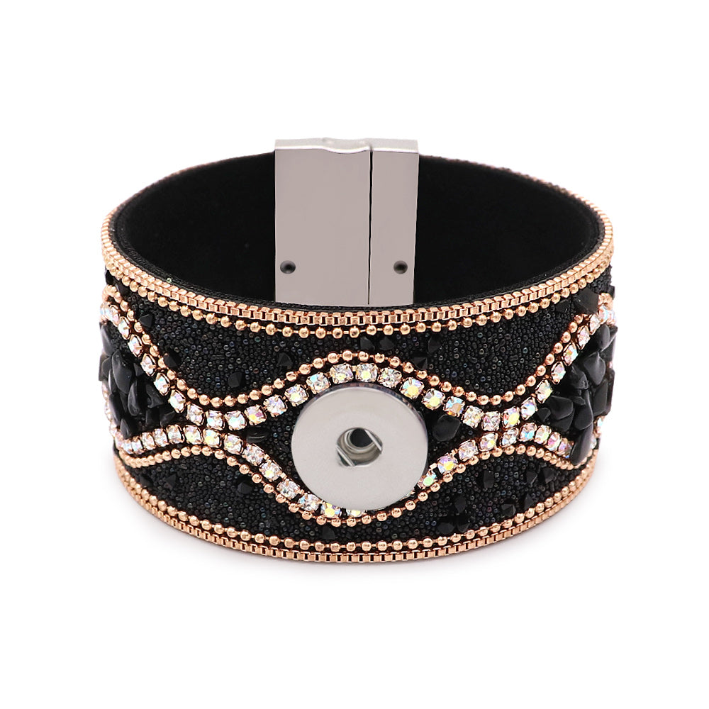 Black Beaded Magnet Cuff - Gracie Roze