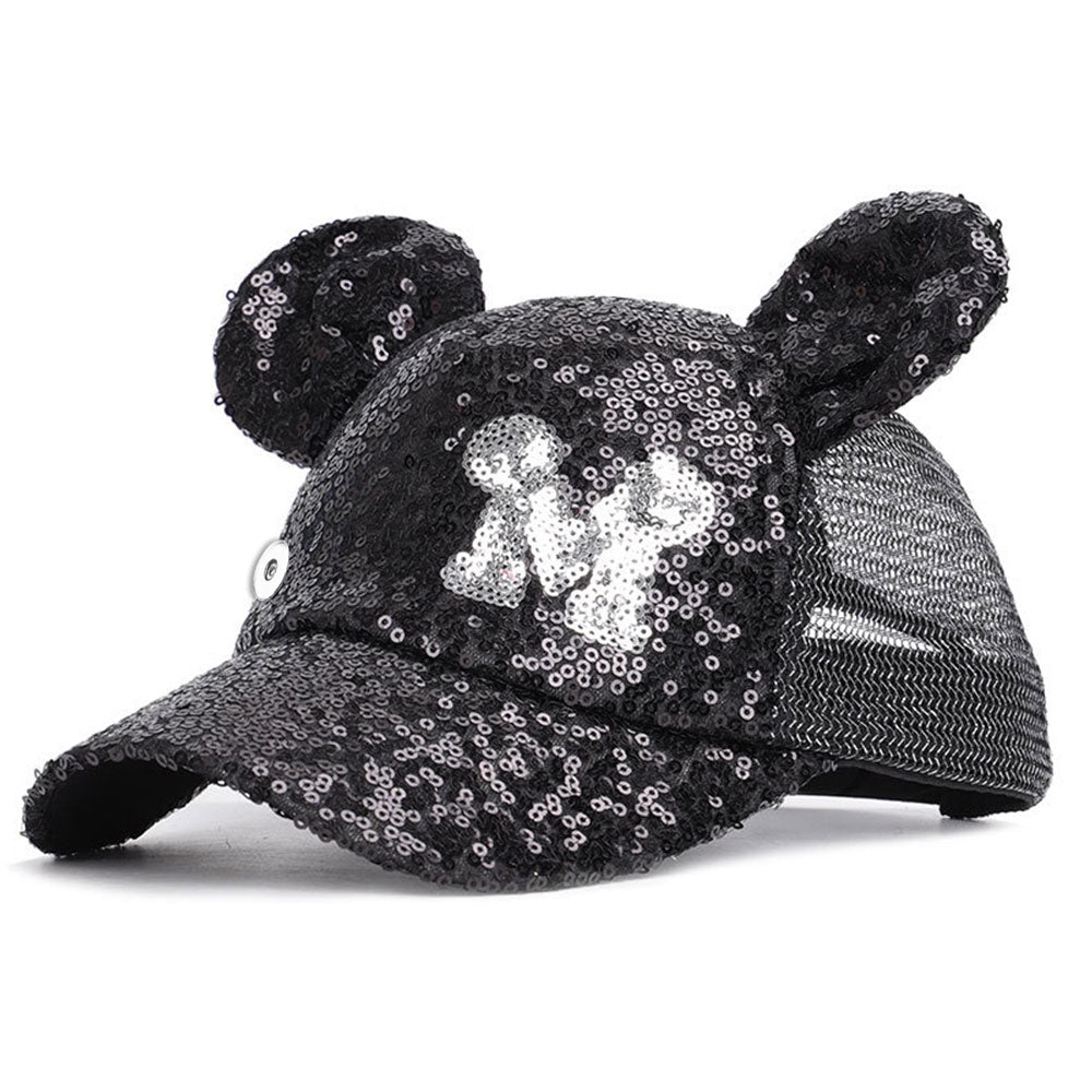 Mouse Ears Black Glitter Snap Hat - Gracie Roze