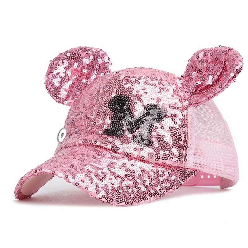 Mouse Ears Pink Glitter Snap Hat - Gracie Roze