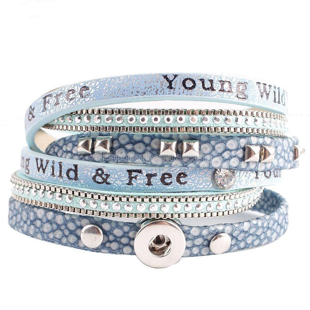 Periwinkle Leather Wrap Mini Bracelet - Gracie Roze