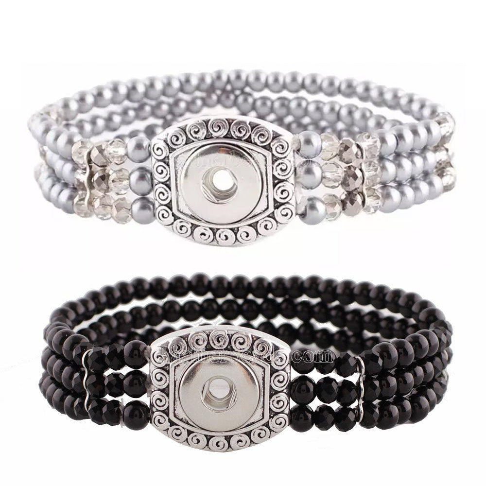 Mini Pearl Stretch Snap Bracelet - Gracie Roze