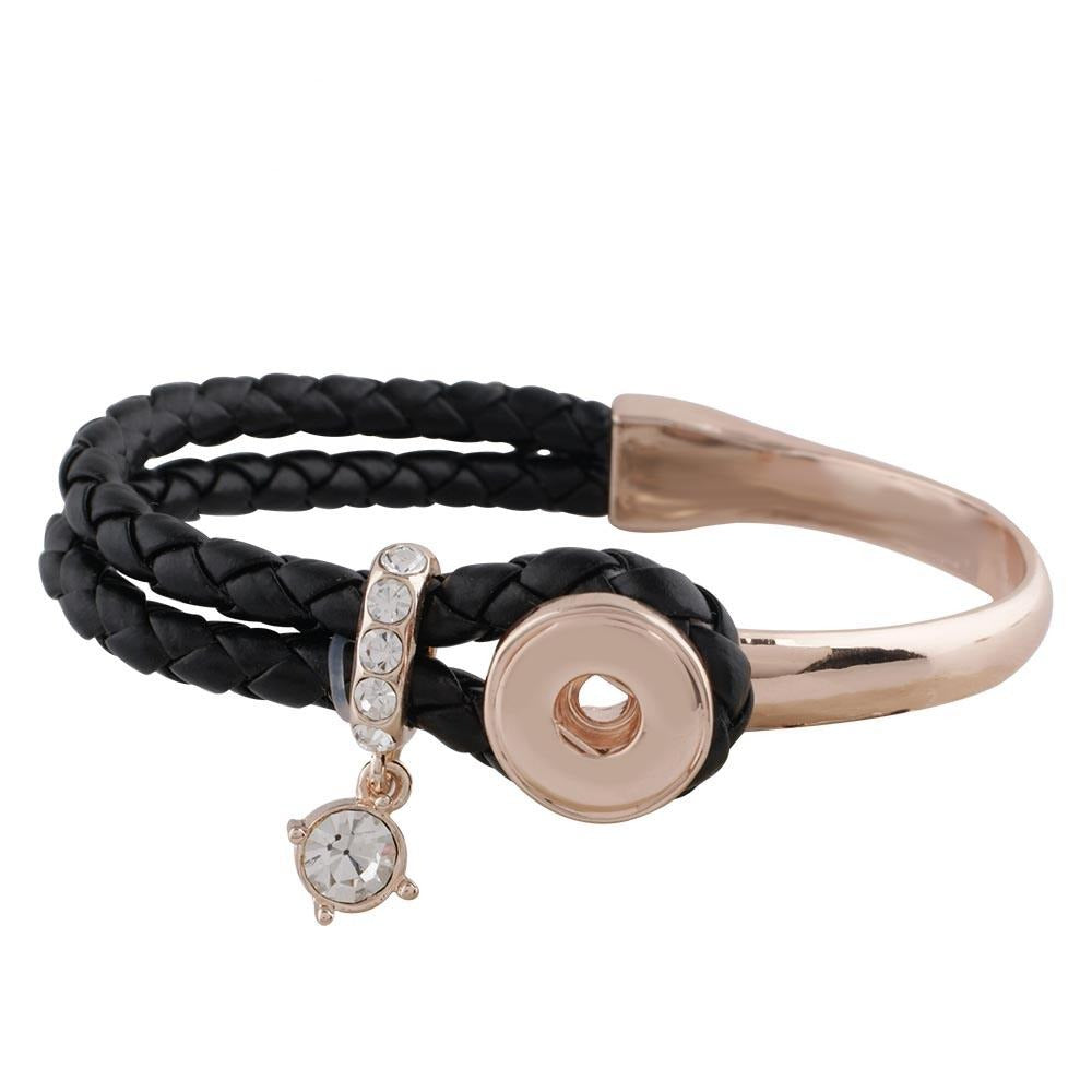 Rose Gold Leather Crystal Mini Bracelet - Gracie Roze