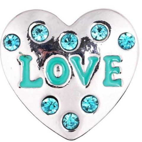 Teal Crystal Love Heart Snap