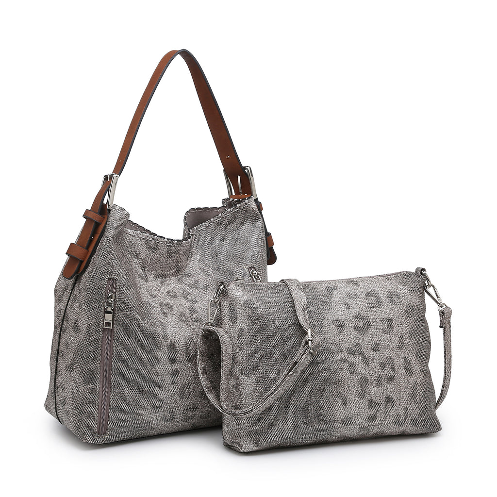 Jen & Co. Conceal Carry Hobo Bag Leopard Grey/Beige - Gracie Roze