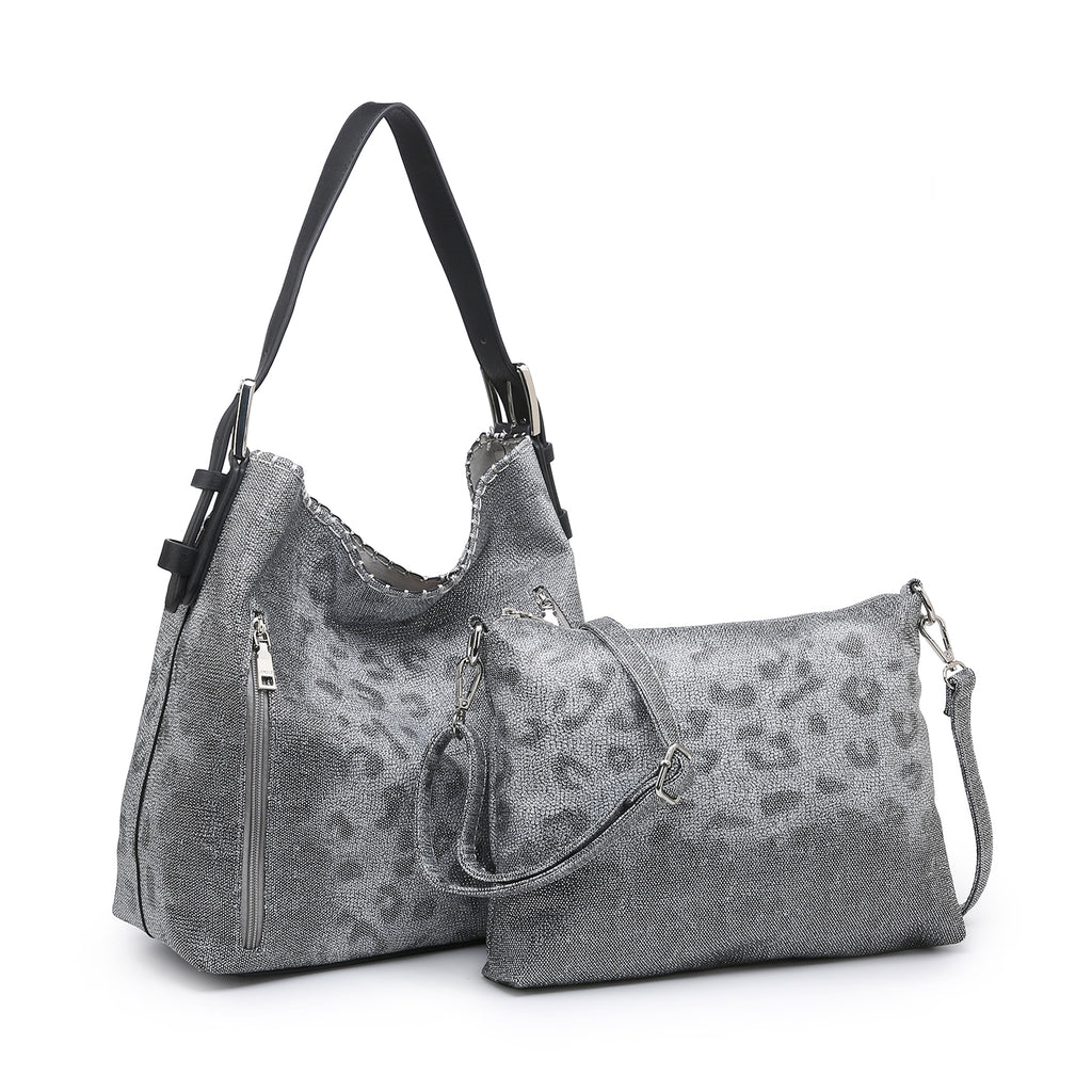 Jen & Co. Conceal Carry Hobo Bag Grey/Silver Leopard - Gracie Roze