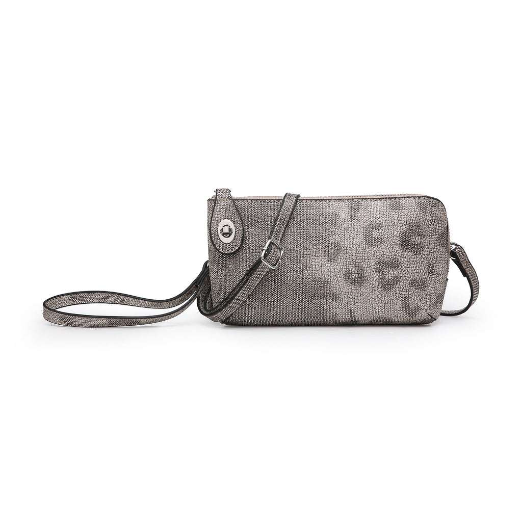 Jen & Co. Clutch Crossbody Leopard Beige/Silver - Gracie Roze