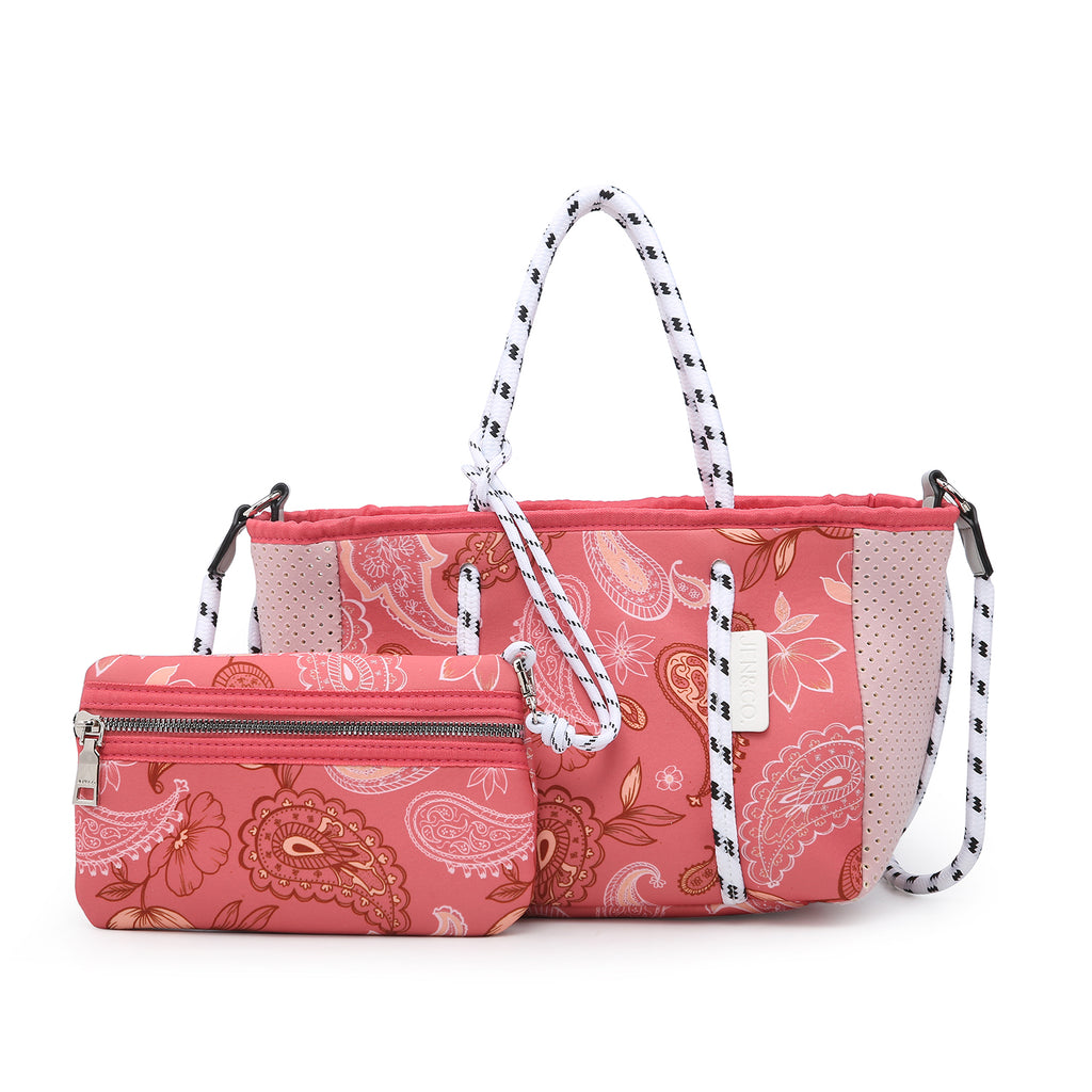 Jen & Co. Paisley/Coral Neoprene Mini Bag - Gracie Roze