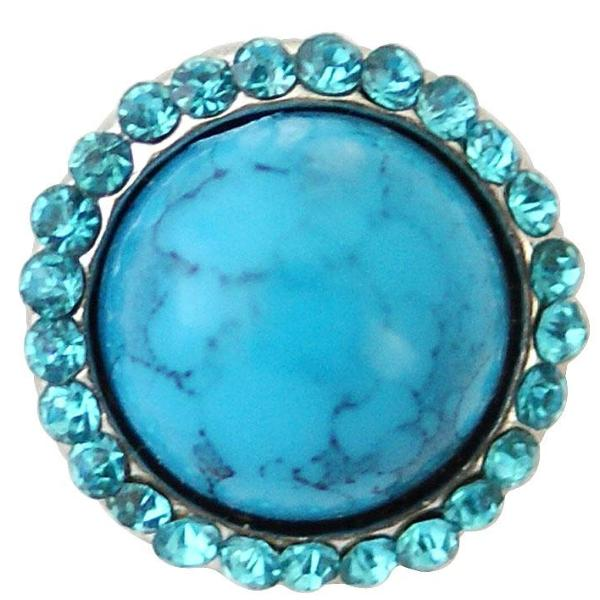 Blue Stone with Crystals Mini Snap - Gracie Roze Yourself Expression Snap Jewelry