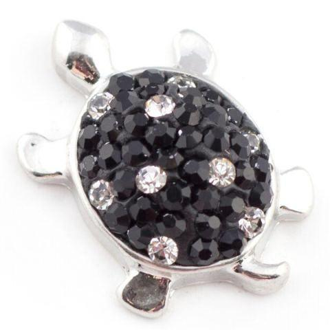 Black Crystal Turtle Snap - Gracie Roze Yourself Expression Snap Jewelry