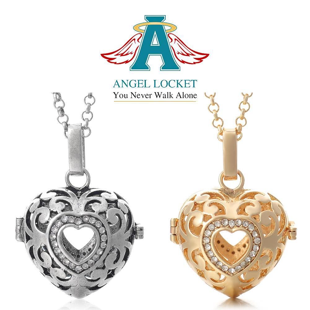 Open Crystal Heart Angel Locket