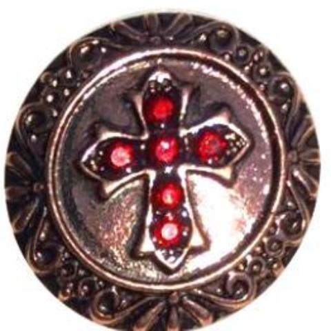 Bronze Red Crystal Cross Popper for Snap Jewelry