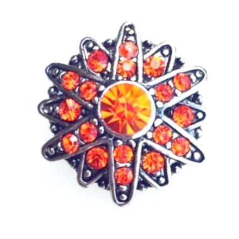 Double Orange Starburst Popper for Snap Jewelry