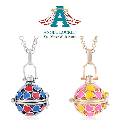 Colorful Hearts Angel Locket