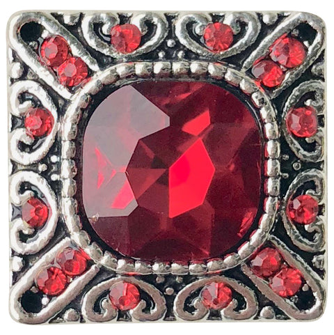 Square Red Crystal Snap
