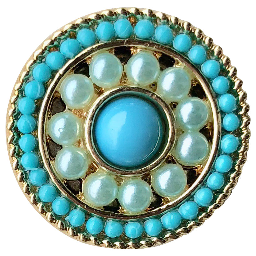 Pearl with Blue Stone Snap