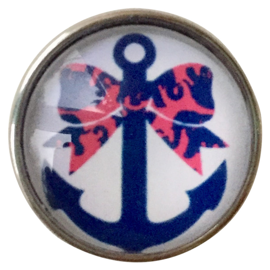 Anchor Pink or Blue Bows Snap