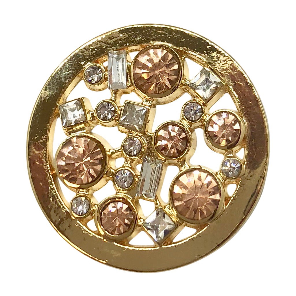Gold with White and Rose Crystals Coin