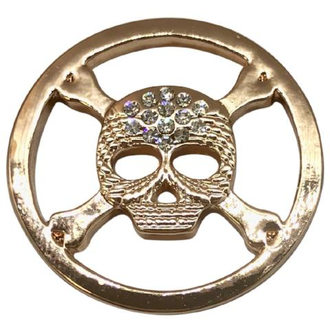 Pirate Skull Rose Gold Coin - Gracie Roze Yourself Expression Snap Jewelry