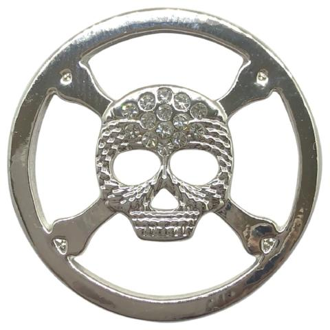 Pirate Skull Silver Coin - Gracie Roze Yourself Expression Snap Jewelry