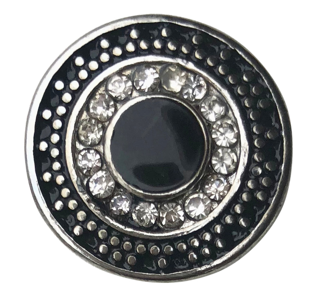 Dots Black and White Crystal Snap - Gracie Roze Yourself Expression Snap Jewelry
