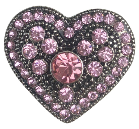 Pink Antique Crystal Heart Snap