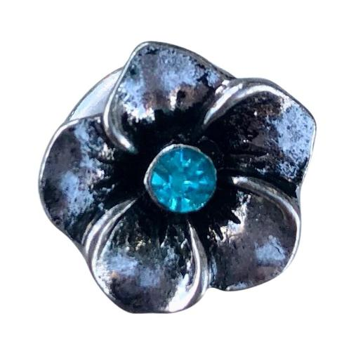 Flower Blue Mini Snap - Gracie Roze Yourself Expression Snap Jewelry