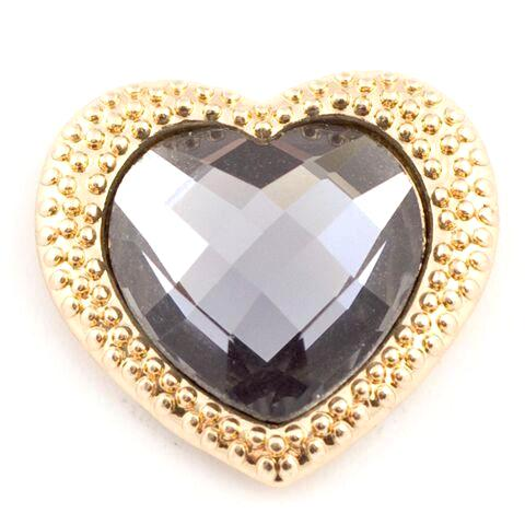Gold Heart with Black Crystal Center Snap