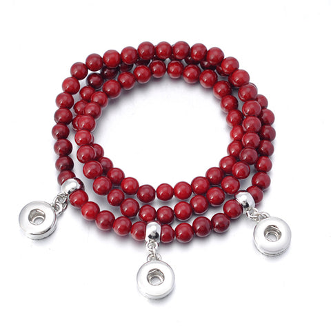 Burnt Red Beaded Mini Snap Bracelet/Necklace