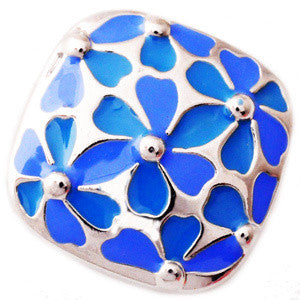 Blue Metal Floral Popper