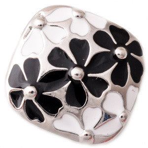 Black and White Metal Floral Snap