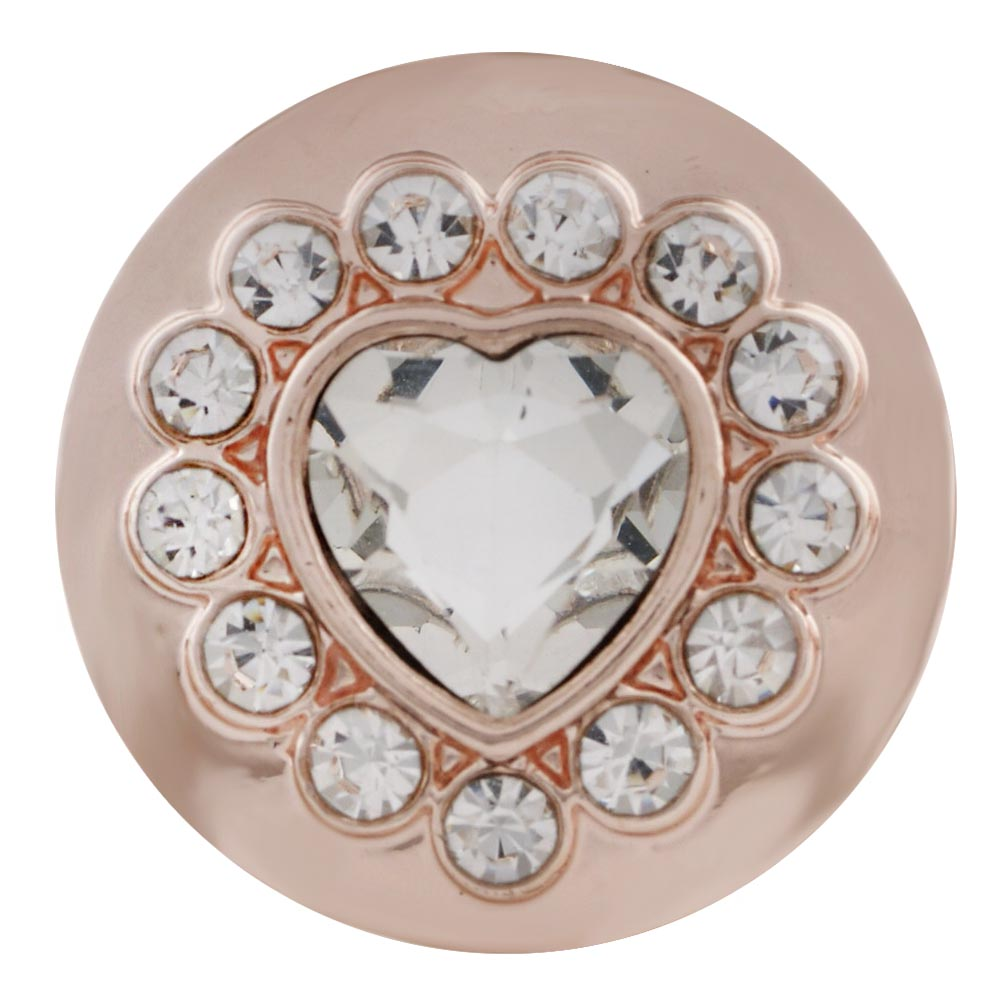 Rose Gold Heart Crystal Snap - Gracie Roze Yourself Expression Snap Jewelry
